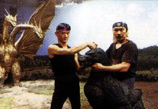 Hurricane Ryu (left) with Kenpachiro Satsuma on the set of Godzilla vs. King Ghidorah