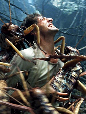 Jack Driscoll is swarmed by Weta-rexes in King Kong (2005)