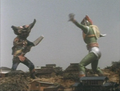 Go! Greenman - Episode 3 Greenman vs. Gejiru - 28 - Looks more like a dance battle.png