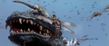 Godzilla vs. Megaguirus - Godzilla has his face swarmed.png