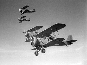 A fleet of Curtiss F8C Helldivers in the 1933 King Kong film