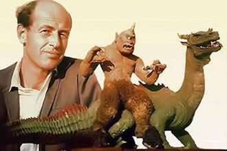 Ray Harryhausen with the dragon and cyclops from The 7th Voyage of Sinbad
