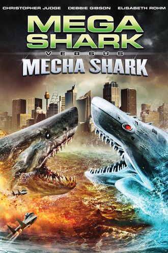The U.S. DVD cover for Mega Shark Versus Mecha Shark