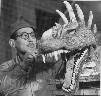 Teizo Toshimitsu working on the head of the original Anguirus suit
