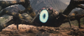 All Monsters Attack - Kumonga gets hit by a smoke ring which Minilla made.png