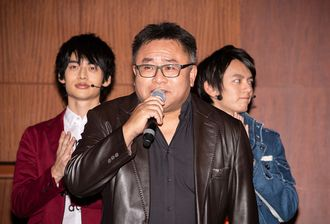 Ryuichi Ichino (center) with Yuya Hirata and Tatsuomi Hamada at a press release for Ultraman Taiga the Movie in 2019