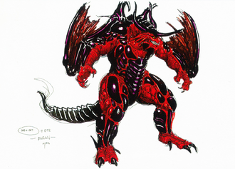 Concept art of Bagan's decided design for Mothra vs. Bagan by Yasushi Nirasawa