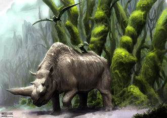 Arsinoitherium concept art created by Greg Broadmore in 2003 for King Kong (2005)