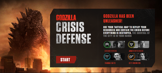 Godzilla: Crisis Defense's title screen