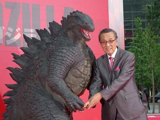 Akira Takarada with Godzilla at the Japanese premiere of Godzilla (2014)