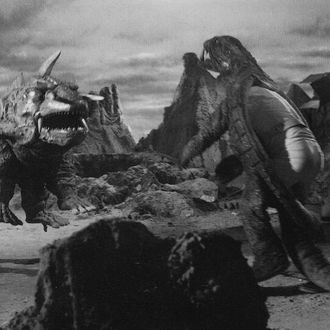 Izumi enters the Gamera suit on the set of Gamera vs. Jiger