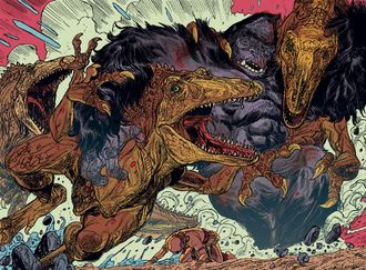 A pack of theropods attack a Kong in Kong of Skull Island