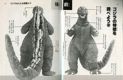 A diagram detailing Godzilla's traits, including his gills