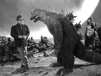 "Eiji Tsuburaya with the DaisensoGoji suit on the set of ""Invasion of Astro-Monster"""