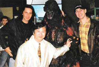 Patrick Tatopoulos (left) with Koichi Kawakita (center) and Roland Emmerich (right)