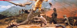 Many of the Showa Godzilla monsters in Destroy All Monsters