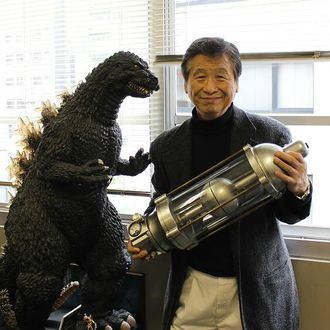 Koichi Kawakita with the Oxygen Destroyer prop and a Godzilla maquette